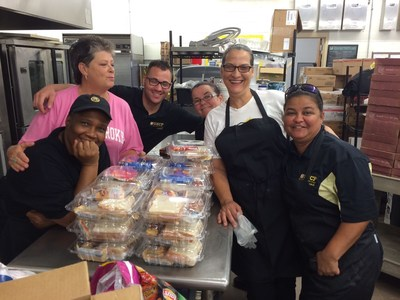 Sodexo dining services team at University of North Carolina Pembroke maintain continuity of service through flooding and power outages during Hurricane Matthew. Hot meals and boxed lunches were provided to students, staff and emergency personnel staged on campus.