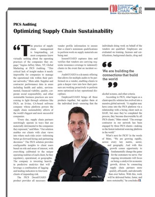 CIO Review Selects PICS for 20 Most Promising Supply Chain Solution Providers