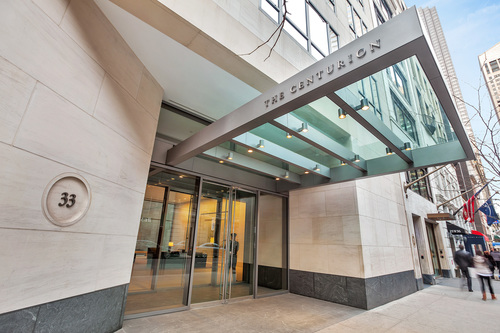 Entrance of The Centurion Condominium at 56th Street in New York (PRNewsFoto/The Centurion Condominium) (PRNewsFoto/The Centurion Condominium)
