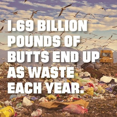 1.69 billion pounds of butts end up as waste each year.
