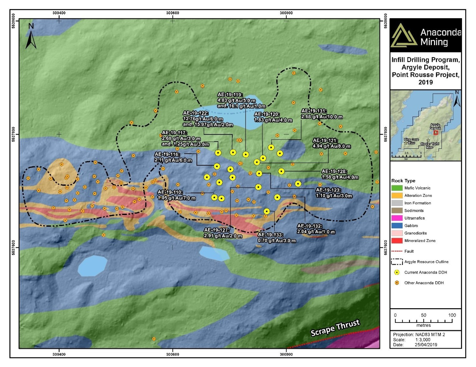 Exhibit A. A map of the Argyle deposit showing the location of recent drill collars and highlighted composited assays.