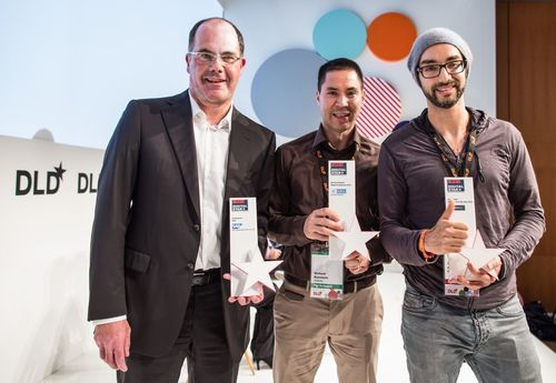 Awardees Dr. Stefan Sigg (SAP), Richard Kuenkele (YouPickIt) and Iljad Madisch (Researchgate) ...