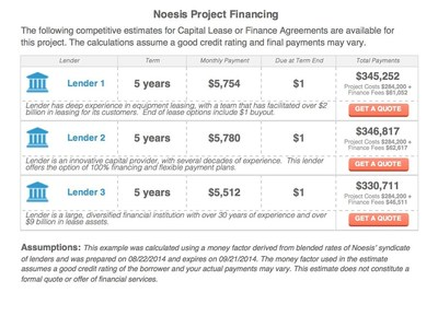 Ascentium's financing will be presented as part of the Noesis Energy Efficiency Finance Finder, which lets project developers include financing on proposals to building owners. The quote system is a key capability of Noesis' marketplace, which connects project developers with the best financing resources. (PRNewsFoto/Noesis Energy)