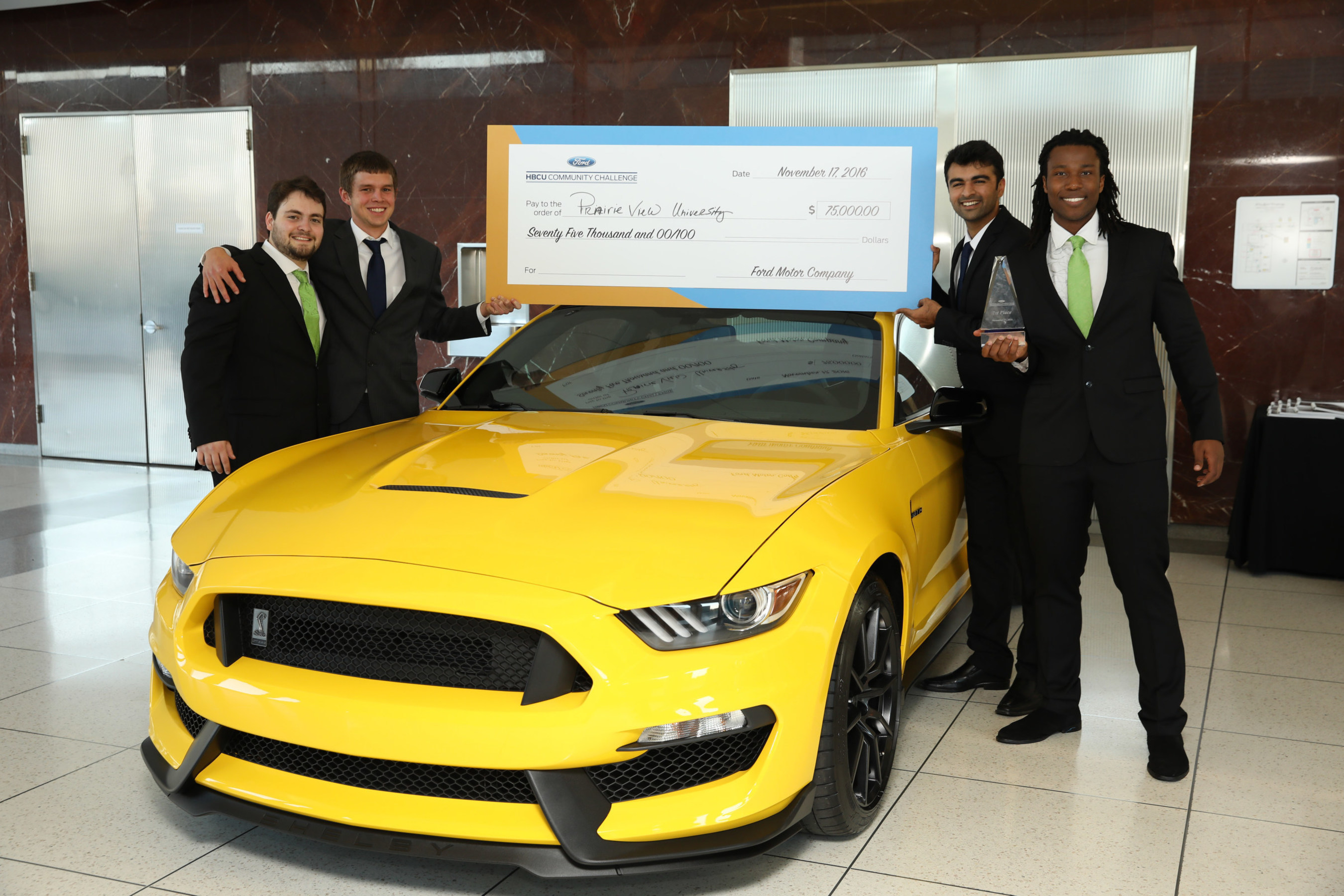 Students of Prairie View A&M University win 2016 Ford HBCU Community Challenge after presenting innovative app in front of judges including Tom Joyner and Henry Ford III at Ford World Headquarters.