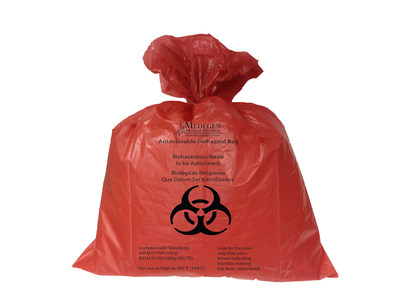 Medegen Medical Products' New Dual-Tested Autoclave Bags meet or exceed autoclave bag regulations for the interstate and intrastate transport of biohazardous waste for all 50 states. They are ASTM D1922 Elmendorf Tear tested to exceed 480g of tear strength (MD and TD), and ASTM D1709 tested to exceed 165g of dart drop strength.  They can be autoclaved at temperatures up to 285 degrees Fahrenheit and feature an integral steam processing indicator that turns brown when autoclaved.  Visit http://www.medegenmed.com for more information.