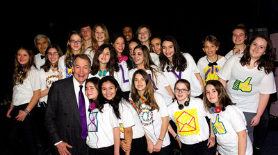 Charlie Rose, guest of honor, Lycee Francais de New York Gala 2013. Here, Mr. Rose greets LFNY students after their performance at the event.  (PRNewsFoto/Lycee Francais de New York)