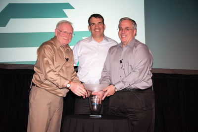 EMCOR Group, Inc. received its 3rd Chairman's Award from CNA for Good Work Practice in Construction & Service Industries, recognizing continuing excellence in risk, injury, and waste reduction through innovation, dedication, and ongoing improvement.  The award was presented at the opening of EMCOR's 2016 Safety Meeting to Tony Guzzi, President & CEO, EMCOR Group, Inc., pictured center, by Bill Boyd, Senior Vice President, Risk Control, CNA, pictured right of Tony.  Pictured left: David Copley, Vice President, Safety & Quality Management, EMCOR Group, Inc.