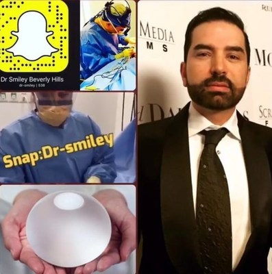 A link to Dr. Smiley's Snapchat Account where he can be followed to watch live plastic surgery videos. Snapchat name: dr-smiley
