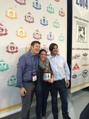 2014 United States Barista Champion Laila Ghambari (center). (PRNewsFoto/De'Longhi Group )
