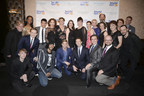Broadway Belts for PFF! cast members, musicians and producers: Front row, left to right: Drew Charles Bastian, Daveed Diggs, Hunter Ryan Herdlicka, Jeremy Benton, Josh Walden, Carl Andress; middle, Christopher McGovern, Robert Creighton, Ellen Zolezzi, Judy Kaye, Louis Tucci; back row, Zakiya Young, Telly Leung, Randy Graff, Cady Huffman, Danette Holden, Lisa Howard, Margo Seibert, Julie Halston, D. Michael Dvorchak, Sue Frost, Ed Windels. The Tony and Grammy award-winning cast performed at the sixth annual Broadway Belts for PFF! fundraiser to benefit the Pulmonary Fibrosis Foundation at the Edison Ballroom, New York City, February 29, 2016. Photo by Jenny Anderson.