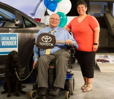 Steve Karmgard, shown here with his wife, Helen, and his canine companion, Pluto, is the winner of the 2016 Local Heroes Contest. Winning a Toyota Sienna wheelchair accessible vehicle in National Mobility Equipment Dealers Associations' National Mobility Awareness Month Campaign.  BraunAbility is providing the wheelchair conversion.