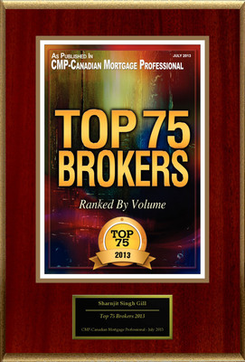 "Sharnjit Singh Gill, AMP Selected For ""Top 75 Brokers 2013"".  (PRNewsFoto/American Registry)"