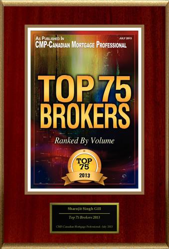 "Sharnjit Singh Gill, AMP Selected For ""Top 75 Brokers 2013"".  (PRNewsFoto/American Registry)"