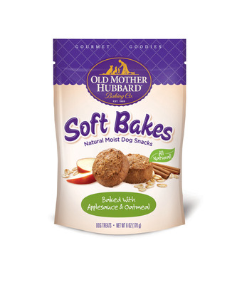 Old Mother Hubbard Gourmet Goodies Soft Bakes come in three flavors: Peanut Butter & Carob, Applesauce Oatmeal and Carrot & Pumpkin.  (PRNewsFoto/Old Mother Hubbard)
