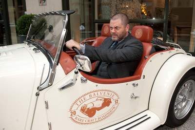 """Actor and Master Craftsman Nick Offerman posed in The Balvenie custom Morgan car outside The Crosby Hotel on March 10, 2012 at the documentary premiere of """"Handmade: A Celebration of Craftsmanship presented by The Balvenie"""" in New York City.  (PRNewsFoto/The Balvenie)"""