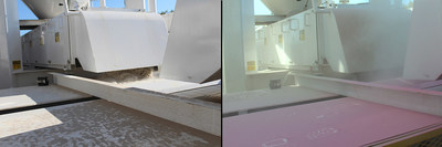A side by side comparison of UNIFRAC(R) DUSTSHIELD(TM) proppant and non-coated proppant.