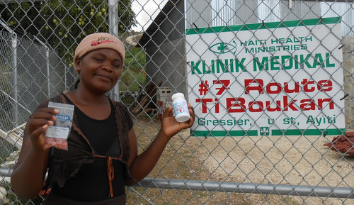 Madame Dorelien, a patient at Haiti Health Ministries in Leogane, Haiti was a recipient of multivitamins from ...