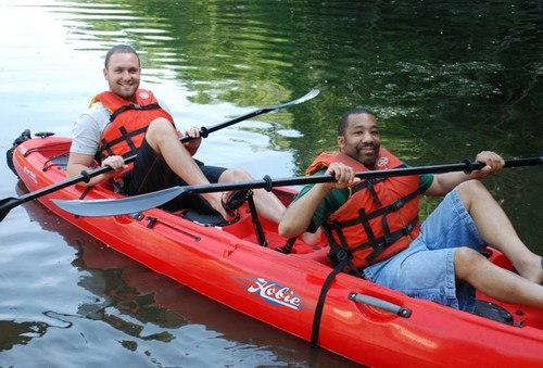 Lee and an IGHL coach practice their kayaking techniques for the upcoming Coastal Team Challenge - Long Island.  ...