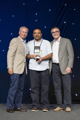 Jim Amorosia, President & CEO, G6 Hospitality (left); Rocky Patel, Motel 6 Franchisee of the Year (center), Tom Bodett, Voice of Motel 6 (right)  (Photo Credit to Scott Cook)