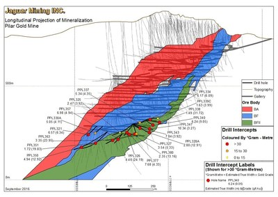 Figure 1 - Longitudinal Section, Pilar Gold Mine indicating drilling locations (Not all drill locations have been projected on this section)