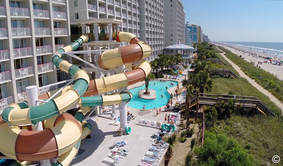 Crown Reef Resort's Waterpark features two four-story tall waterslides, a silly sub, tree house and more. (PRNewsFoto/Vacation Myrtle Beach)