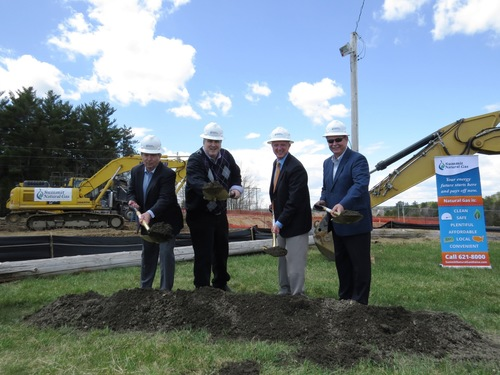 From left to right: Mike Minkos, president, Summit Natural Gas of Maine; Steve Woods, chairman, Yarmouth Town Council; Nathan Poore, town manager, Falmouth; and Bill Shane, town manager, Cumberland all dig in the dirt at the groundbreaking ceremony at the Cumberland Fairgrounds. (PRNewsFoto/Summit Natural Gas of Maine )