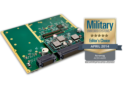 The ACEX-4620 is one of the rugged COM Express carriers of the ACEX-4600 series and supports a basic Type 6 COM Express module, two mini PCIe, and two XMC/PMC modules for expansion. (Shown with Editor's Choice award) (PRNewsFoto/Acromag)