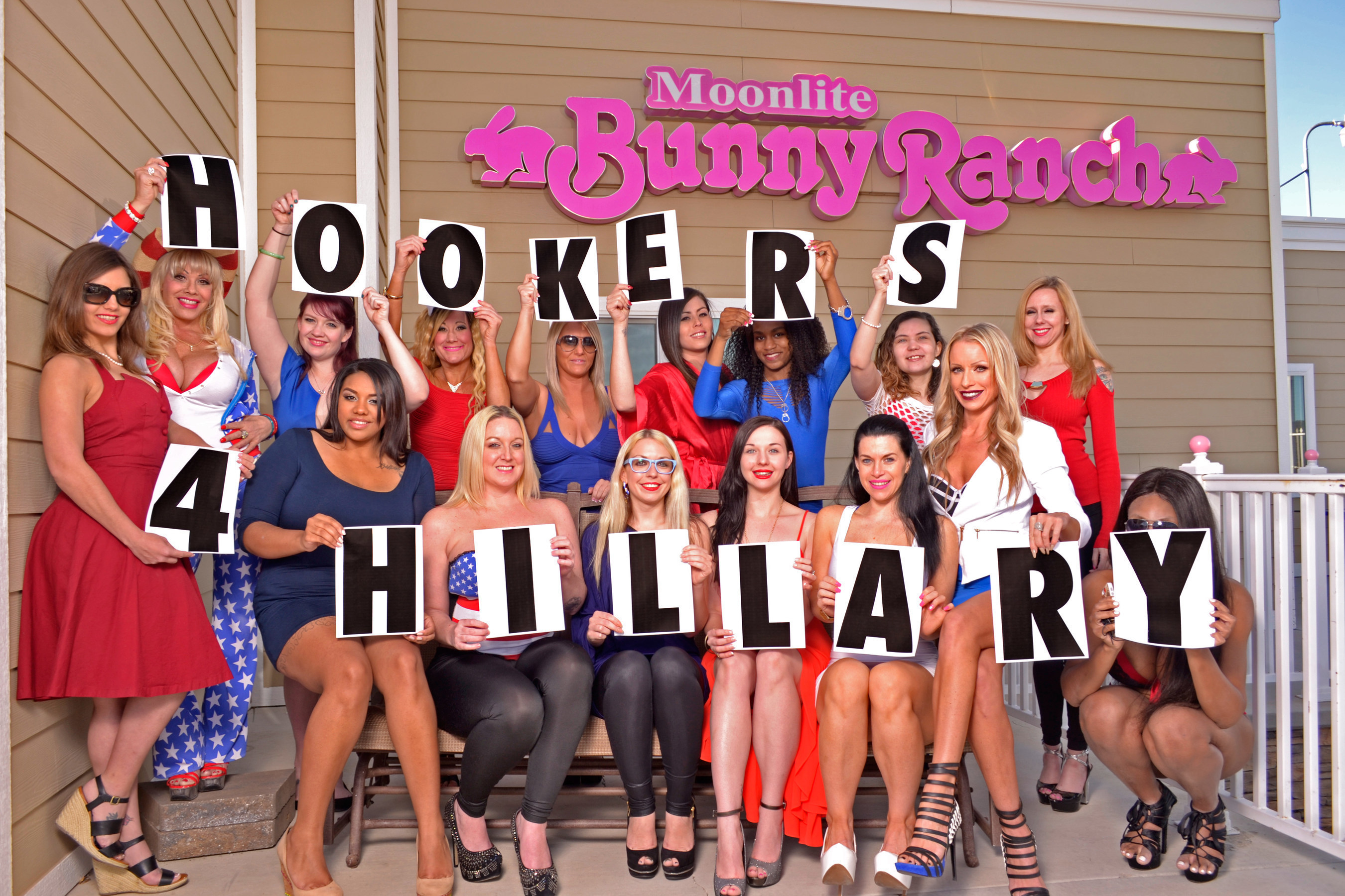 """Hookers For Hillary! Bunny Ranch Sex Workers Announce Endorsement Of Hillary Clinton For President. Prostitutes at Dennis Hof's world famous """"Moonlite Bunny Ranch"""" legal brothel in Carson City, Nevada are banding together to announce their support of the Hillary Clinton presidential campaign.  Following Clinton's formal announcement, the sex workers launched their """"Hookers For Hillary"""" initiative, drafting a four-point platform to explain their endorsement. More information at www.hookersforhillary.com #hookersforhillary"""
