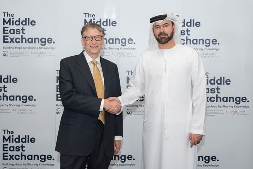 HE Mohammed Al Gergawi, Minister of UAE Cabinet Affairs with Bill Gates during the launch of the Middle East ...