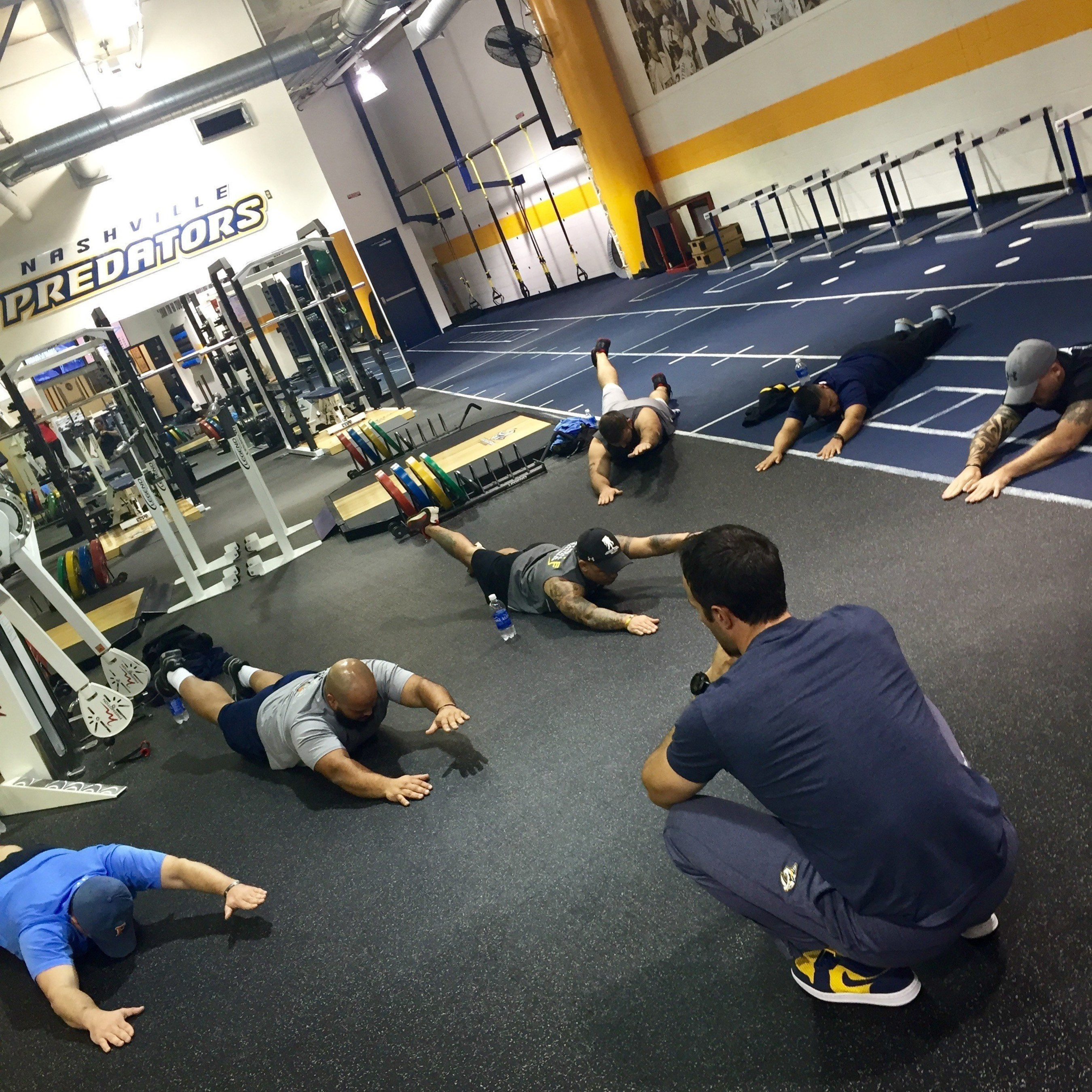 Wounded veterans trained with the Nashville Predators training staff as part of the Physical Health and Wellness program offered by Wounded Warrior Project.