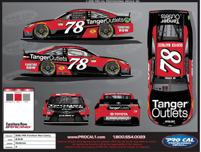 Rendering: Martin Truex Jr.'s No. 78 Tanger Outlets Toyota Camry for the Sept. 10 Federated Auto Parts 400 NASCAR Sprint Cup Series race at Richmond (Va.) International Raceway.