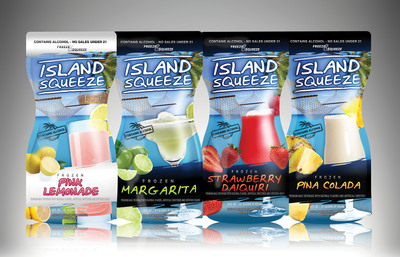Phusion Projects, LLC announced the introduction of Island Squeeze, a frozen pouch cocktail available just in time for the summer months. This unique malt-based, progressive adult beverage will debut with four popular flavors - Pink Lemonade Light, Pina Colada, Margarita, and Strawberry Daiquiri. The new products reinforce Phusion Projects' position as an innovative company that develops products to address changing consumer needs.  (PRNewsFoto/Phusion Projects, LLC)