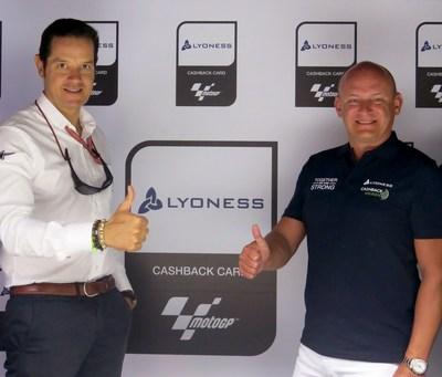 Pau Serracanta, Dorna Sports (left) and Hubert Freidl, Lyoness. Credits: motogp.com (PRNewsFoto/Lyoness Europe AG)