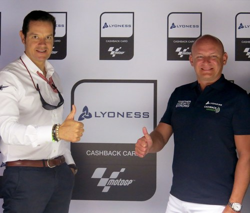 Pau Serracanta, Dorna Sports (left) and Hubert Freidl, Lyoness. Credits: motogp.com (PRNewsFoto/Lyoness Europe ...