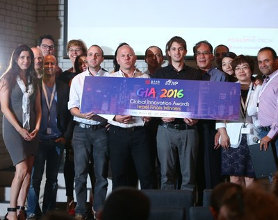 GIA 2016, the three Israeli winners together with representatives from Shengjing Group & JVP and the local competition strategic partners: EMC, Microsoft, Poalim Hi-Tech, Ernst &Young Israel, HFN, Nautilus by AOL and PR Newswire. (PRNewsFoto/Jerusalem Venture Partners (JVP))