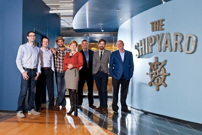 The Shipyard's leadership team includes, from left: Ilya Bodner, Chief Revenue Officer; Jason Walker, Chief Client Services Officer; Anthony Trimpe, Chief Creative Officer; Jenifer Ridenour, Chief Operating Officer, Dan Easley, President- Fugent, Benjamin Clarke, President; Rick Milenthal, Chairman.  (PRNewsFoto/The Shipyard)