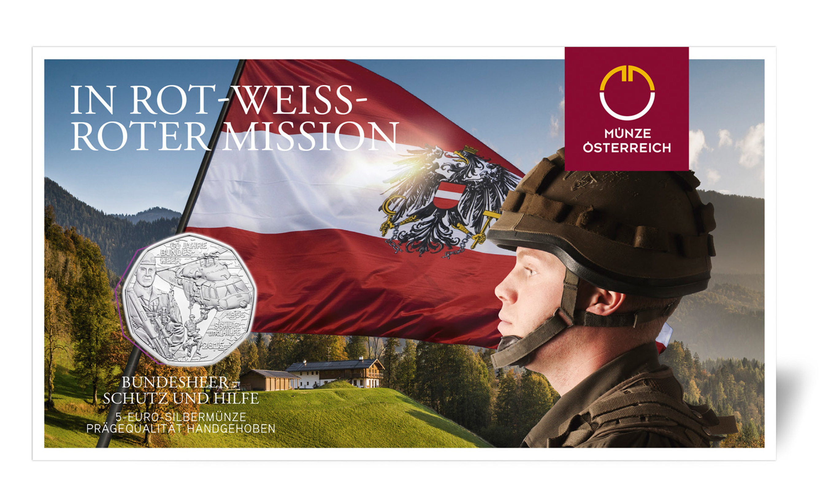 The Austrian Army 60-year commemorative silver coin comes decoratively wrapped for collectors from the Austrian Mint.