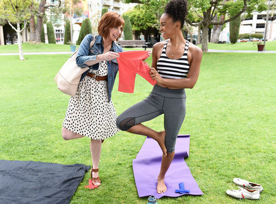 IMAGE DISTRIBUTED FOR JOCKEY SKIMMIES - Actress Alyson Hannigan passes out Jockey Skimmies(R) slipshorts to help women avoid embarrassing fashion mishaps while filming scenes for The Solutionary(TM) video series on Wednesday, June 3, 2015 in Los Angeles. The video series will debut on jockey.com/savedbyskimmes in mid-June.  (Photo by Jordan Strauss/Invision for Jockey Skimmies/AP Images)