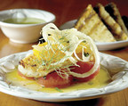 Day Boat Cod with Melted Tomatoes and Shaved Fennel and Orange Salad