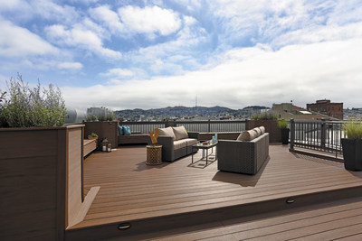 AZEK Deck's Vintage Collection in Mahogany is featured on a condo building rooftop in San Francisco.