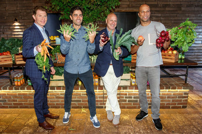 Bobby Flay, Adrian Grenier, Tom Colicchio and Common snap a fruit and vegetable selfie at Naked Juice's #DrinkGoodDoGood campaign launch event in Manhattan. For every selfie shared using the campaign hashtag, Naked Juice will donate 10 pounds of produce to communities in need.