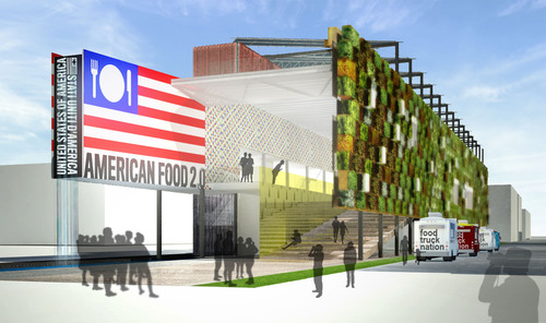 Rendering of the American Food 2.0 USA Pavilion at Expo Milano 2015; Biber Architects for Friends of the U.S. ...