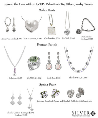 Silver Promotion Service showcases top silver jewelry trends for Valentine's Day.  (PRNewsFoto/Silver Promotion Service)