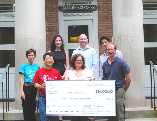 Pictured (l-r):  Myrna Papier, NJGSS administrative manager; David Miyamoto, professor of biology and director of the NJGSS; Heather Levis Guzzi, Bayer HealthCare; Deborah Torres, Bayer HealthCare; Graham Cousens, assistant professor of psychology; Minjoon Kouh, assistant professor of physics; and Roger Knowles, associate professor of biology.  (PRNewsFoto/Bayer HealthCare Pharmaceuticals, Kimberly Herig)
