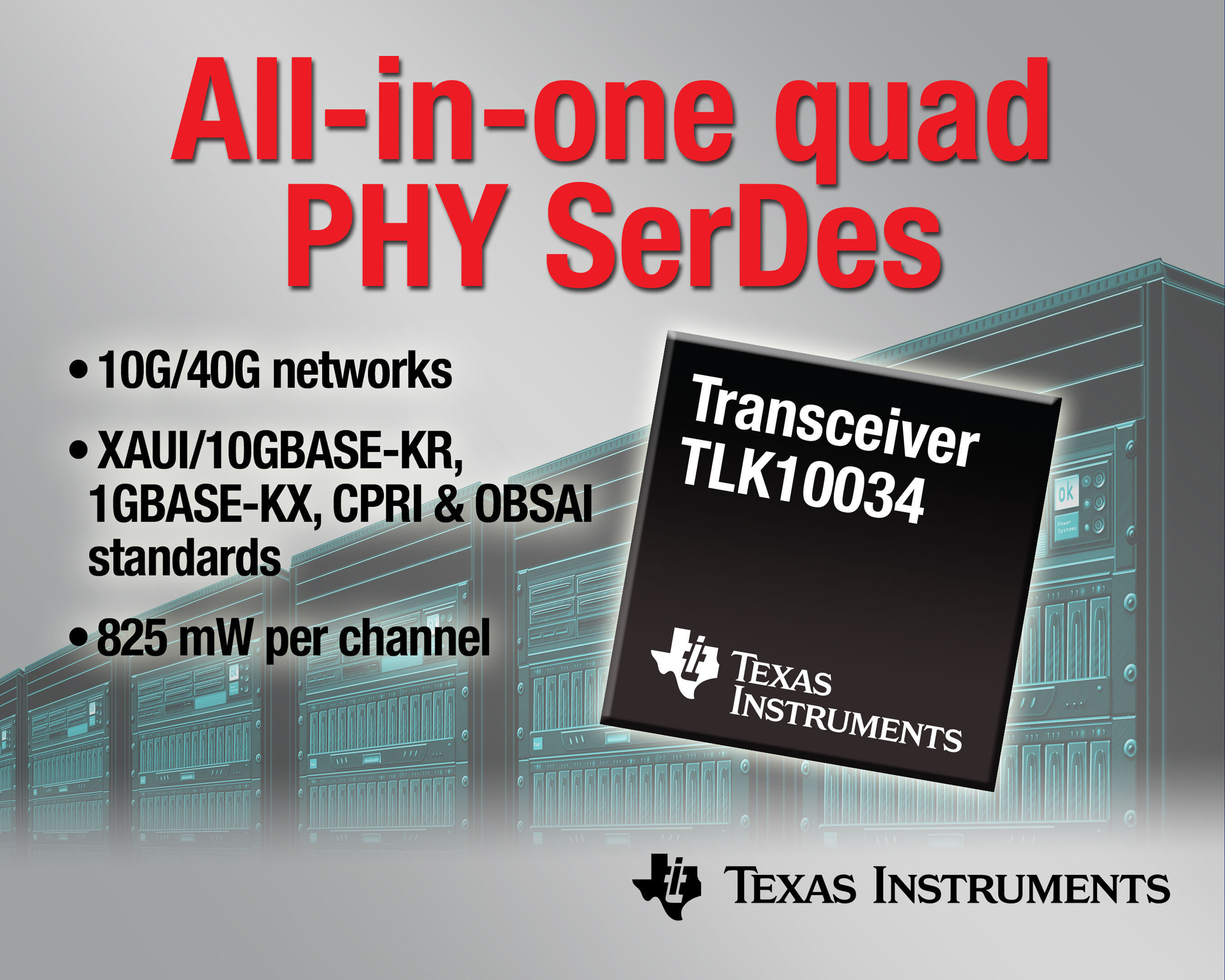 TI unveils industry's first all-in-one transceiver for 10-Gbps Ethernet standards