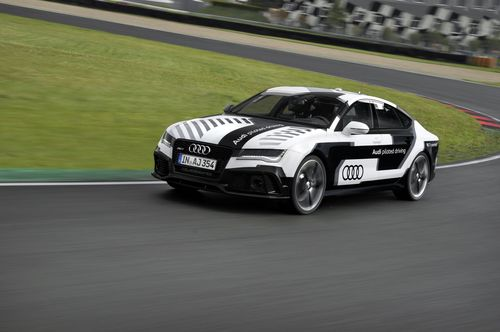 Audi has developed the world's sportiest piloted driving car. At the German Touring Car Masters (DTM) season finale, the Audi RS 7 piloted driving concept car will demonstrate its dynamic potential and driving capabilities for the first time on the Hockenheimring - at racing speed, without a driver. (PRNewsFoto/Audi AG)