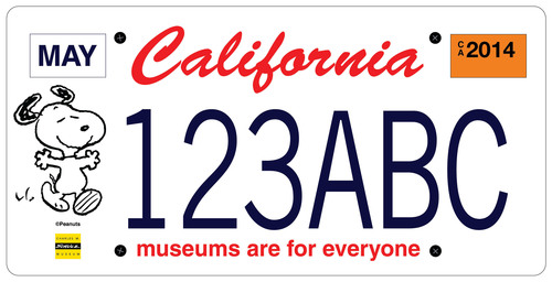 A program is now fully underway to put Snoopy on California license plates, and help fund the state's museums at the same time. The special license plate, available for pre-order now at www.snoopyplate.com, will feature a reproduction of an original drawing of Snoopy by Peanuts cartoonist Charles Schulz. (PRNewsFoto/California Association of Museums)