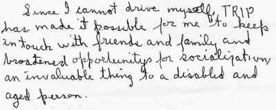 TRIP Volunteer Driver Program Reports Another Year of Strong Participation - Client Testimonial