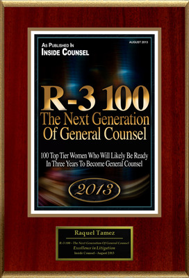 "Raquel Tamez Selected For ""R-3 100 - The Next Generation Of General Counsel"". (PRNewsFoto/American Registry) (PRNewsFoto/AMERICAN REGISTRY)"