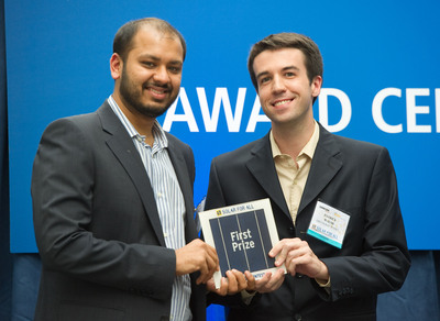 Greenlight Planet Founders - Mayank Sekhsaria (left) and Patrick Walsh (right). Greenlight Planet was awarded the First Prize of the Solar for All Design Contest, an investment of $250,000 from the Deutsche Bank Americas Foundation, at Intersolar North America.  (PRNewsFoto/Solar for All)